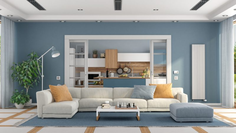 Central air conditioning in an open plan kitchen and living room